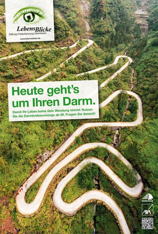 Wartezimmer-Plakat Darmkrebsvorsorge der Stiftung LebensBlicke